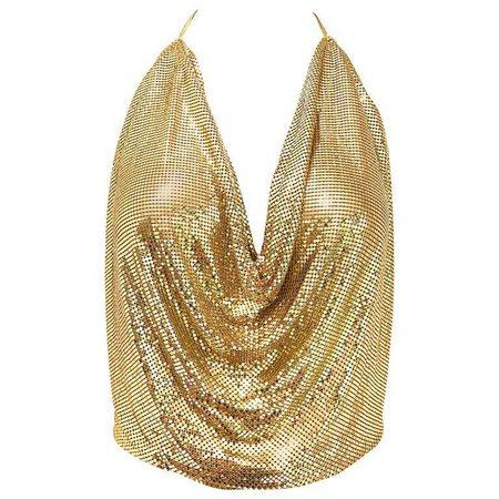 1970s Whiting and Davis Gold Metal Chain Mail Sexy Disco Vintage 70s Halter Top For Sale at 1stdibs