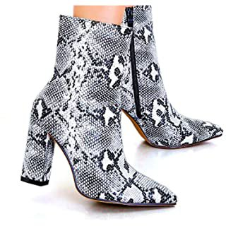 Amazon.com | Women's Sexy Snakeskin Chunky Heel Ankle Booties Zipper High Heel Pointed Toe Printed Short Boots | Ankle & Bootie