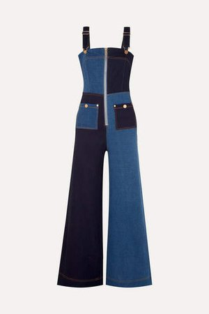 Quincy Patchwork Denim Overalls - Mid denim