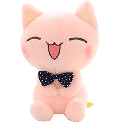 "Amazon.com: ECTY Cute Stuffed Plush Doll, 11"" Sitting Height Soft Stuffed Pink Cat Plush Toy: Toys & Games"