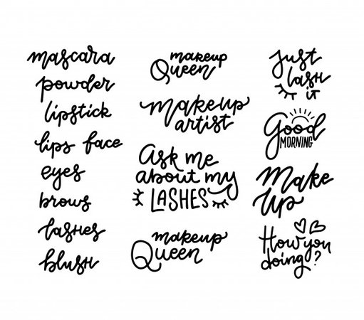 Premium Vector | Lashes, mascara, makeup, powder, lipstick - lettering set with quotes or phrases. typography illustrations for decorative cards, beauty salon, makeup artists, stickers. fashion sayings in linear style