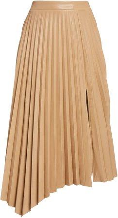 Jonathan Simkhai Jayla Pleated Vegan-Leather Skirt