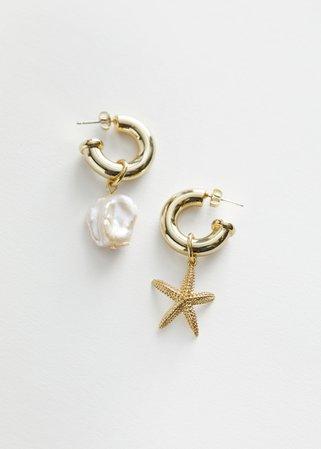 Mismatch Pearl Star Hoop Earrings - Gold - Hoops - & Other Stories
