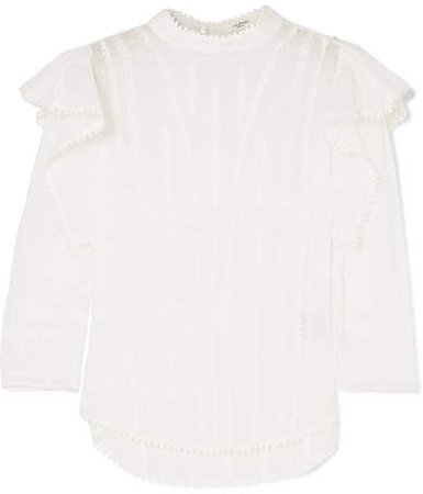 Anny Embroidered Cotton-voile Blouse - White