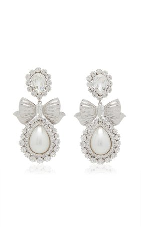 Crystal And Pearl Bow Drop Earrings By Alessandra Rich | Moda Operandi