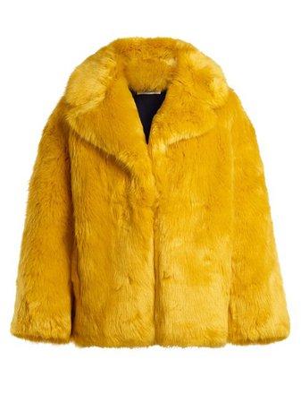 Diane von Furstenberg Yellow Faux Fur Jacket Size 4 (S) - Tradesy
