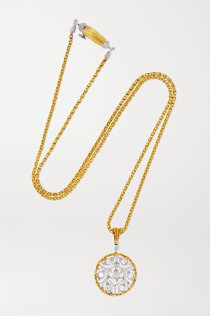 Gold Ramage 18-karat yellow and white gold diamond necklace | Buccellati | NET-A-PORTER