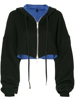 cropped zipped-up hoodie