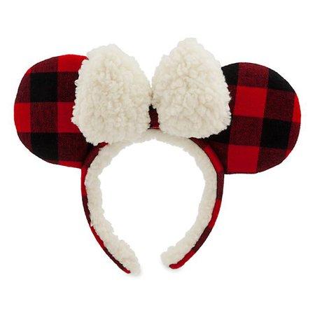 Minnie Mouse Plaid Holiday Ear Headband for Adults
