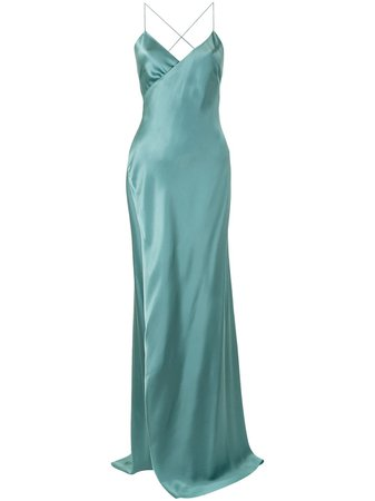 Shop green Michelle Mason strappy wrap gown with Afterpay - Farfetch Australia
