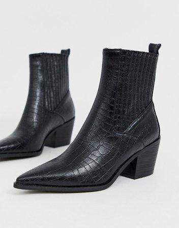 RAID Rocco black croc western boots   ASOS