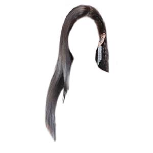 straight black hair png