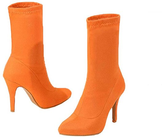 Amazon.com | JooJaky Woman Fashion Pointed Toe Ankle Booties Stilettos Solid Color Short Boots Orange | Ankle & Bootie