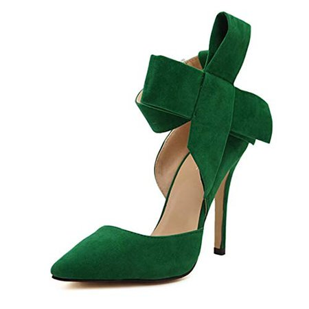 Amazon.com | HEALTH CAO Suede High Heel Pumps Women's Shoes Big Bowknot Green 8 M US Women | Pumps