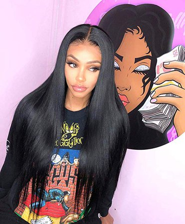 "Amazon.com : ALICE 13x6 Lace Front Black Wig, 22"" Long Straight Middle Part Synthetic Wig for Women, Pre Plucked with Natural Hairline and Baby Hair : Beauty"