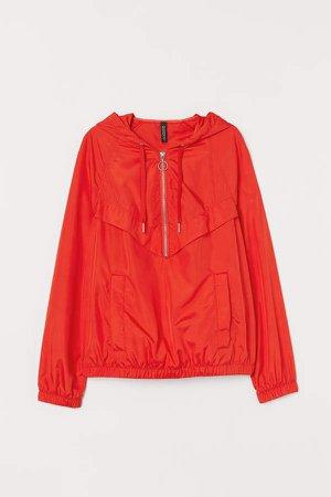 Raglan-sleeved Anorak - Red