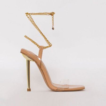 Amarissa Nude Patent Clear Chain Heels