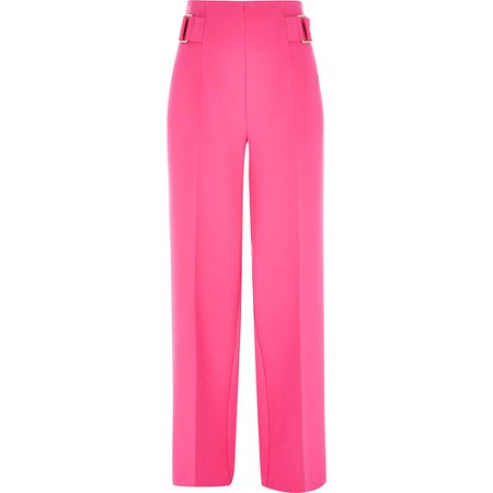 Pink buckle side wide leg trousers | River Island
