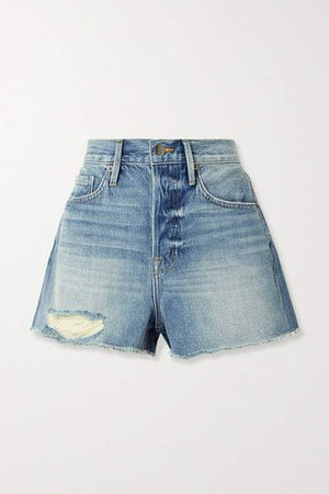 Le Heritage Vintage Distressed Denim Shorts - Mid denim
