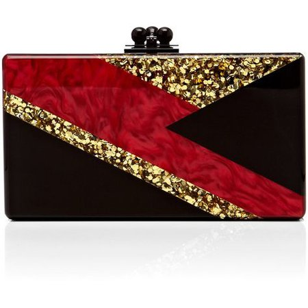 Edie Parker Black Acrylic Jean Clutch With Red Pearlescent And Gold... ($1,295) ❤ liked on Polyvore featuring bags, handbags, clut… | Parker black, Black acrylics, Red handbag
