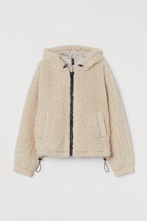 Hooded faux shearling jacket - Light beige - Ladies | H&M GB