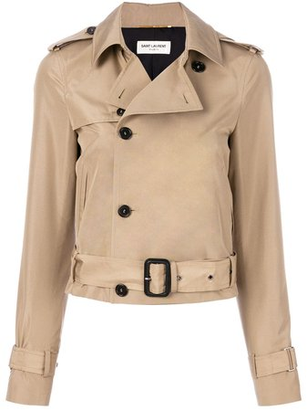 Saint Laurent Jaqueta Trench Cropped - Farfetch
