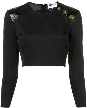 panelled shoulders cropped blouse