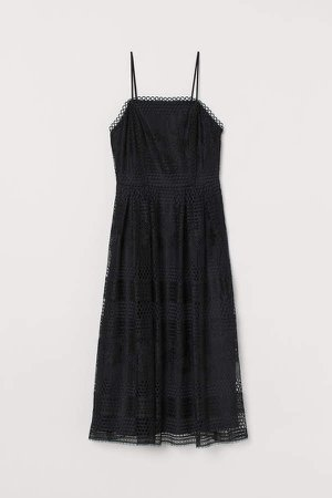 Calf-length Lace Dress - Black