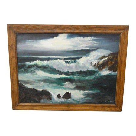 Vintage Coastal Ocean Painting, Signed | Chairish