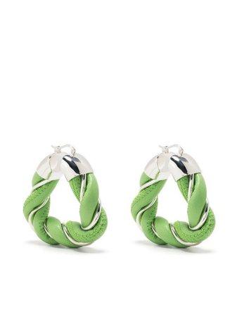 Shop green Bottega Veneta twisted hoop earrings
