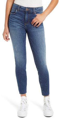 Ellie High Waist Raw Hem Skinny Jeans