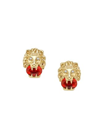 Gucci 18kt Yellow Gold Lion Head Stud Earrings - Farfetch