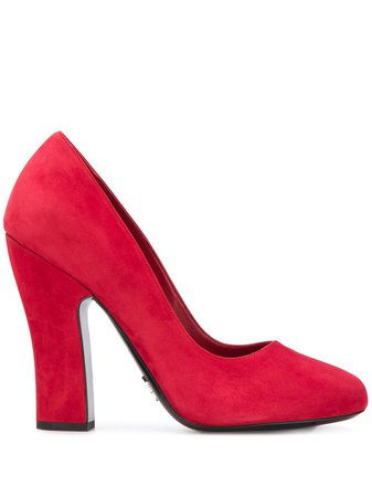 Prada Block-Heel Suede Pumps