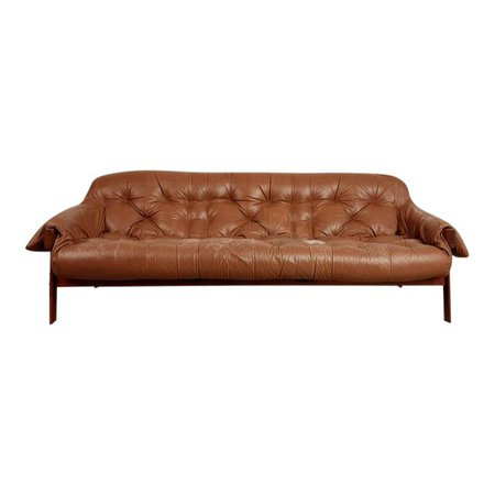 Percival Lafer Rosewood and Distressed Leather Tufted Sofa, Brazil, circa 1960 | Chairish