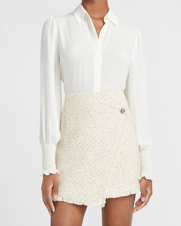 High Waisted Wrap Front Tweed Mini Skirt
