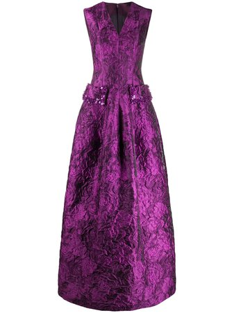 Talbot Runhof jacquard evening dress - FARFETCH