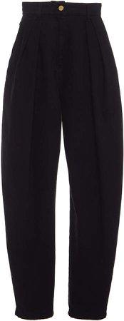Alberta Ferretti Pleated High-Rise Cotton Pants
