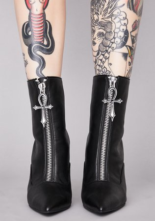 Widow Occult Ankh Ankle Boots - Black | Dolls Kill