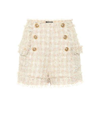 Bouclé tweed shorts