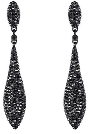 Black/Grey Austrian Crystal Drop Earrings