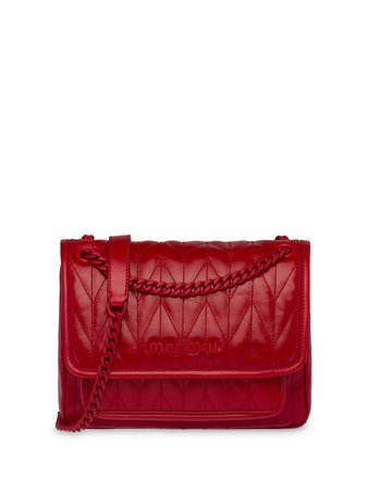 Shop red Miu Miu lettering logo quilted-effect shoulder bag with Express Delivery - Farfetch