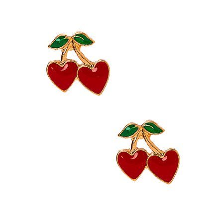 Gold Cherry Heart Stud Earrings - Red   Claire's US