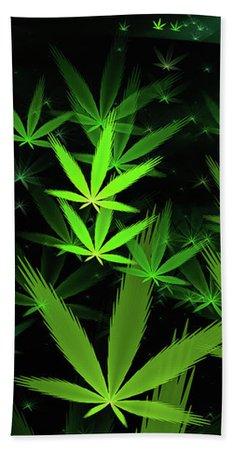 Weed Art - Green Cannabis Symbols Flying Around Bath Towel for Sale by Matthias Hauser
