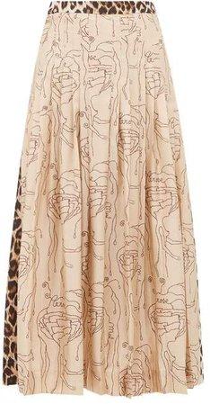 Gabrielle Abstract & Leopard Print Silk Midi Skirt - Womens - Leopard