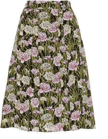 Silk-Jacquard Midi Skirt