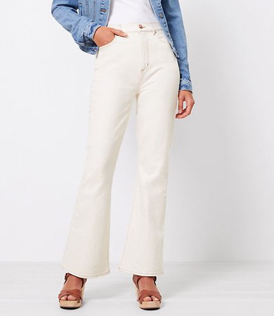 The High Waist Sandal Flare Jean in Natural White