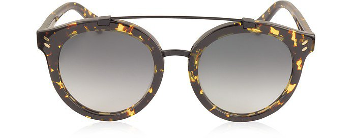 Stella McCartney Gold Havana/Shaded Grey SC0054S Round Aviator Acetate Women's Sunglasses at FORZIERI