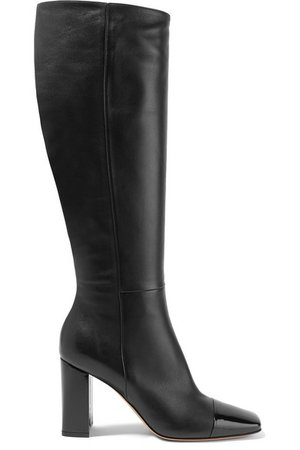 Gianvito Rossi | 85 smooth and patent-leather knee boots | NET-A-PORTER.COM