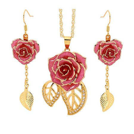 Pink Rose Earring + Necklace Gold Flower