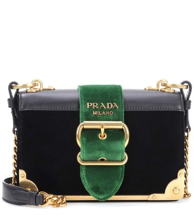 Prada | leather-trimmed velvet shoulder bag